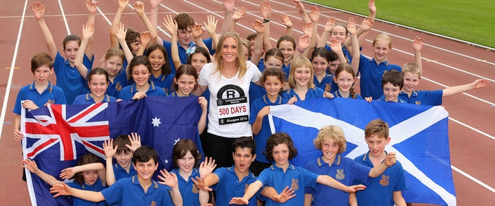 Sally Pearson with school children