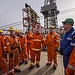 Oil rig workers with the Glasgow 2014 Queen's B...