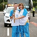 Batonbearer 007 Janette Lynch hands the Glasgow...
