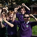 Children from Stoneyhill Primary School cheer t...