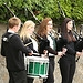 Pupils from Banff Academy play the bagpipie as ...
