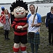 Beano character Dennis the Menace hands the Gla...